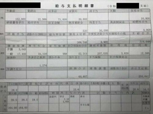 2tトラック運転手の給料明細